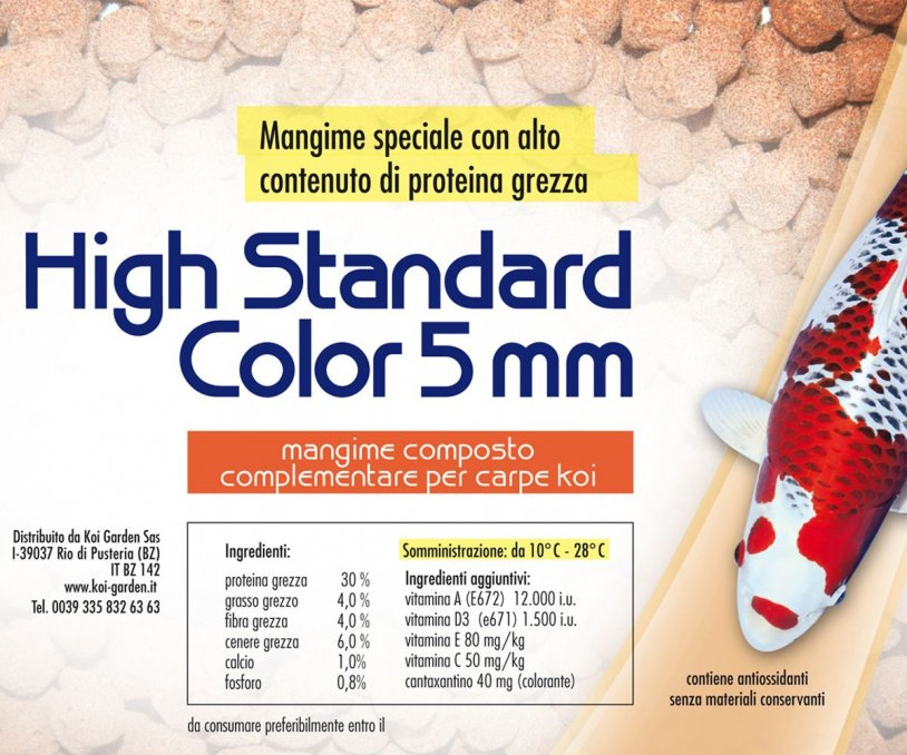 High Standard Color 5 mm - 20 kg Mangime per Koi e pesci...
